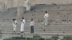 Young Brahmin priests conduct  Morning blessings 2007 Stock Footage