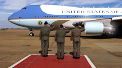 Air Force One Bringing President of the United States to Airport Stock Footage