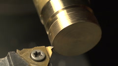 screwcutting on a lathe with a metric threading tool - deep cut - stock footage