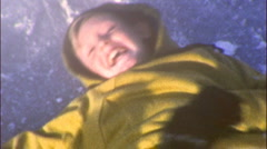 JOYOUS Boy Ice Skating Winter Laugh Skate Kid 1950s Vintage Film Home Movie 30 - stock footage