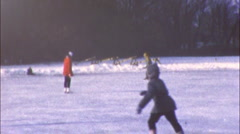 CHILDREN KIDS FUN Ice Skating Pond WINTER 1960s Vintage Film Home Movie 31 Stock Footage