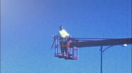 Worker on Manlift Bucket Crane 1960s Vintage Film Home Movie 32 Stock Footage