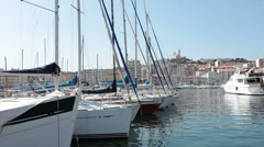 Marseilles France marina Cathedral P HD 0214 Stock Footage