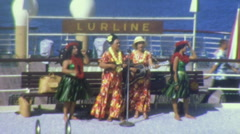 Hawaiian Dancing Girls HULA BAND Women 1960s Vintage Film Home Movie 1kzj Stock Footage