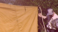 Stock Video Footage of 50s Car Camping Family Tent Set-Up (Vintage Film 8mm Home Movie Footage) 40