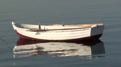 An ampty boat with oars out of water Stock Footage