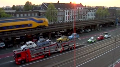 Timelapse of loading a car trailer with classic cars, day to night Stock Footage