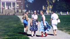 TEENAGE GIRLS COLLEGE CAMPUS Student School 1959 Vintage Old Film Home Movie 100 - stock footage