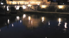 Castel Sant'Angelo Reflected in Tiber River - HD Stock Footage