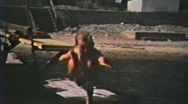 Stock Video Footage of 1950's - Kids at beach 2 - Niagara falls