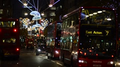 London. Oxford Street. Christmas Decorations. Stock Footage