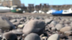 Walking on Beach at Harbour Stock Footage