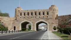 Old city gate of Muscat, Oman Stock Footage