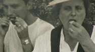 People Eating Feast Picnic Outdoors Italy 1940s Vintage Film Home Movie 111 Stock Footage