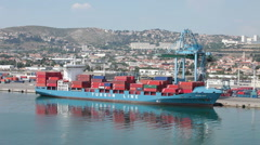 Marseille France cargo contain ship P HD 0315 Stock Footage