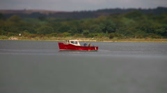 Small Red Fishing Boat - Tilt shilft time lapse HD - stock footage