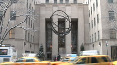 Atlas Statue Rockefeller Center New York Stock Footage