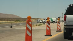Approaching the border in a vehicle between Mexico and America Stock Footage