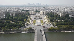 View of Paris from Eiffel Tower (Trocadero) Stock Footage