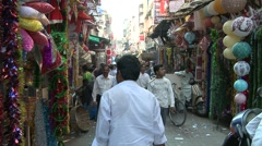 Crowded road in crawford market, Mumbai, India - stock footage