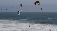 Kite Surfers Wide Shot Stock Footage