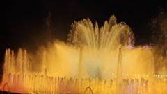 Barcelona Mount juic - magic fountains night time Stock Footage