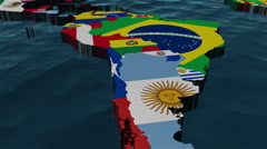 3D World Map Zoom to South America Brazil Stock Footage