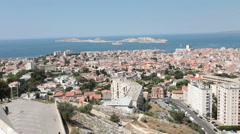 Marseille France pan from Cathedral Notre Dame de la Garde P HD 0252 Stock Footage