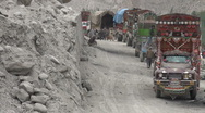 Stock Video Footage of Aid trucks waiting near Attabad lake, disaster area