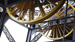Metallic wheels of Eiffel Tower Stock Footage