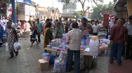 Stock Video Footage of Crowded road in crawford market, Mumbai