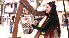 Harp Playing - stock footage