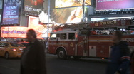 Fire truck stuck in traffic in Times Square New York Stock Footage