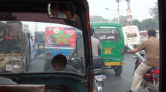 Inside moving rickshaw - Pakistan - stock footage