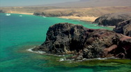 Stock Video Footage of famous lanzarote papagayo beach rocks close