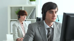 Handsome service operator - stock footage