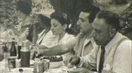 Stock Video Footage of Feast Picnic Outdoors Italy Circa 1946 (Vintage Film 8mm Home Movie) 110