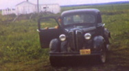 1940s and 50s FUNNY Old Cars Field JALOPY Vintage Film 8mm Home Movie Footage Stock Footage