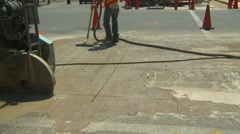 Construction, pavement cutting saw, #8 Stock Footage