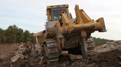 Bulldozer with ripper Stock Footage