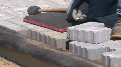 Construction, paving bricks measuring and marking, #4 Stock Footage