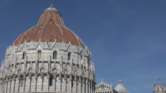The Baptistry of Pisa in Square of Miracles, Cathedral Square, Pisa, Italy Stock Footage