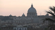 Stock Video Footage of Dome St.Peter's Basilica - Sunset, Rome - Italy, HD1080
