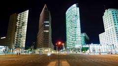Traffic at night in Berlin Potsdamer Platz - stock footage