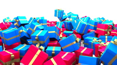Gifts or Presents fall (blue and red) - stock footage
