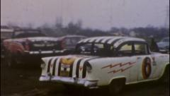 Towing Car Demolition Derby Racetrack Auto 1960s Vintage Film Home Movie 56 Stock Footage