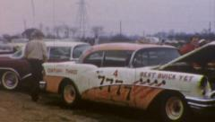 57 CHEVY Demolition Derby Race Car Drag Strip 1960s Vintage Film Home Movie 57 Stock Footage