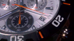 The sweep hand of a chronograph counting seconds Stock Footage