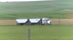 trucking, hopper truck on highway follow - stock footage