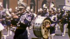 Marching Band SMALL TOWN AMERICAN PARADE 1950s Vintage Film Home Movie 82 Stock Footage